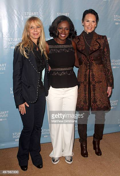 Actresses Rosanna Arquette and Viola Davis and philanthropist Cheryl Saban attends the Rape Foundation's dedication of the Stuart House Building at...