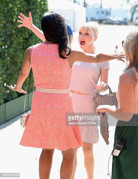 Actresses Rosario Dawson and Anna Faris attend the FifthAnnual Veuve Clicquot Polo Classic at Will Rogers State Historic Park on October 11 2014 in...