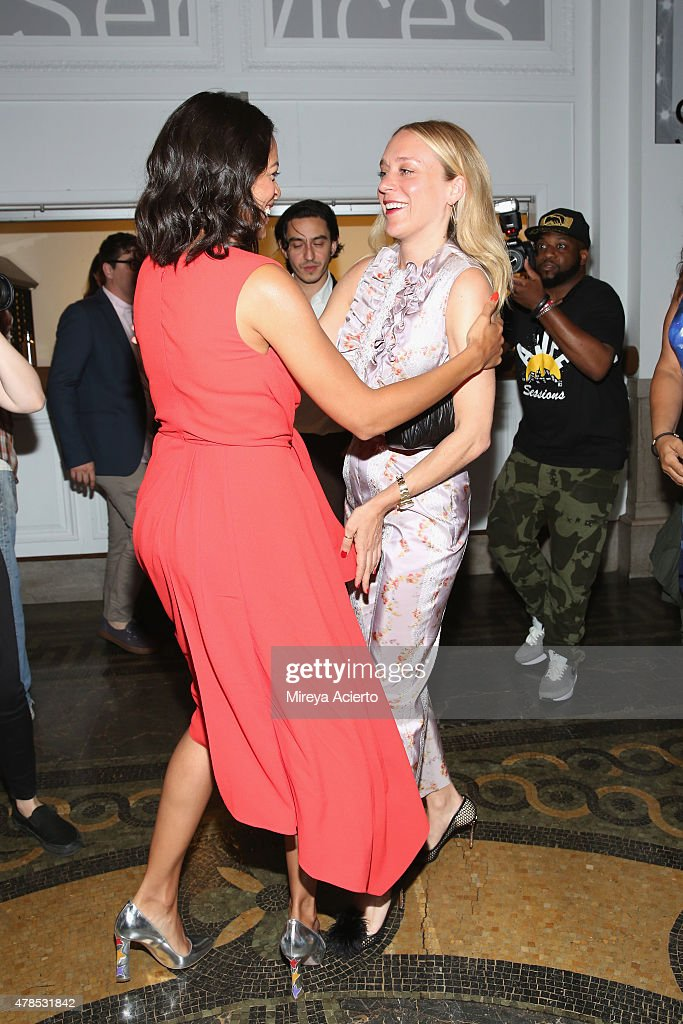 Actresses Rosario Dawson and Chloe Sevigny attend the 'Kids' 20th Anniversary Screening during BAMcinemaFest 2015 at BAM Peter Jay Sharp Building on June 25, 2015 in New York City.