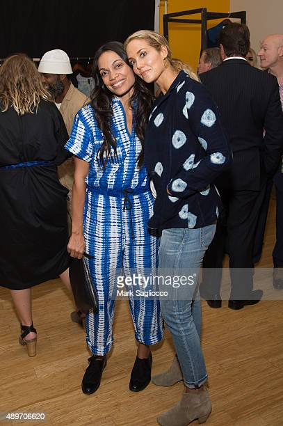 Actresses Rosario Dawson and Elizabeth Berkley attend the Studio 189's Ready to Wear Spring 2016 Presentation at the Lower Eastside Girls Club on...