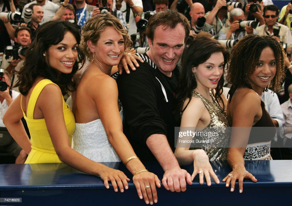 Actresses Rosario Dawson, Zoe Bell, director Quentin Tarantino, actresses Rose McGowan and Tracie Thoms attend a photocall promoting the film 'Death Proof' at the Palais des Festivals during the 60th International Cannes Film Festival on May 22, 2007 in Cannes, France.