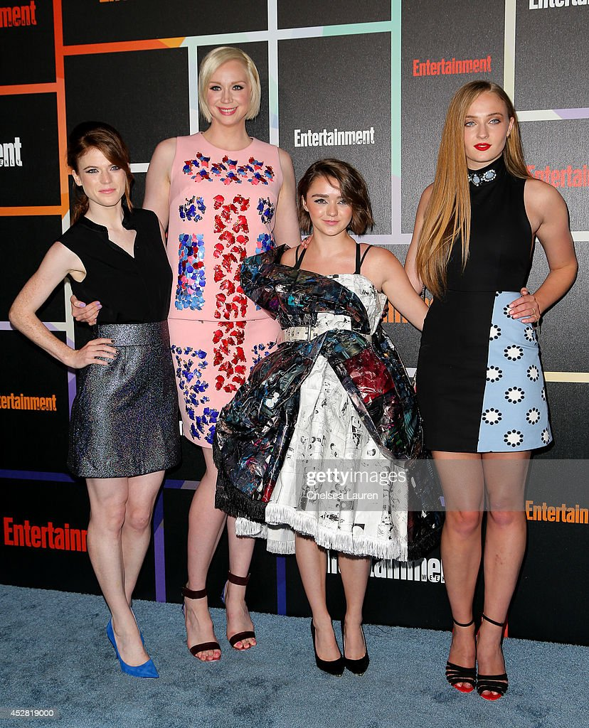 Actresses Rose Leslie, Gwendoline Christie, Maisie Williams and Sophie Turner arrive at Entertainment Weekly's Annual Comic Con Celebration at Float at Hard Rock Hotel San Diego on July 26, 2014 in San Diego, California.