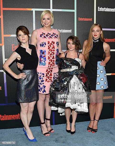Actresses Rose Leslie Gwendoline Christie Maisie Williams and Sophie Turner from Game of Thrones attend Entertainment Weekly's annual ComicCon...