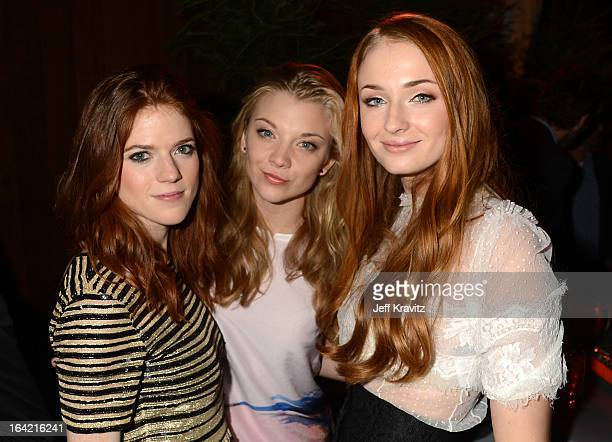 Actresses Rose Leslie Natalie Dormer and Sophie Turner attend HBO's 'Game Of Thrones' Season 3 San Francisco Premiere on March 20 2013 in San...