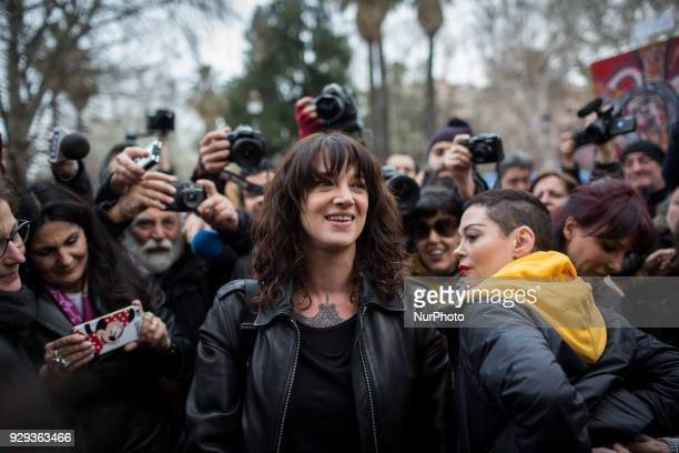 Actresses Rose Mc Gowan and Asia Argento who spoke out against Hollywood tycoon Harvey Weinstein in the sex abuse scandal that involved the producer...