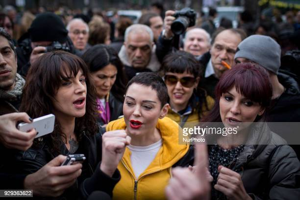 Actresses Rose Mc Gowan Asia Argento And Miriana Trevisan who spoke out against Hollywood tycoon Harvey Weinstein in the sex abuse scandal that...