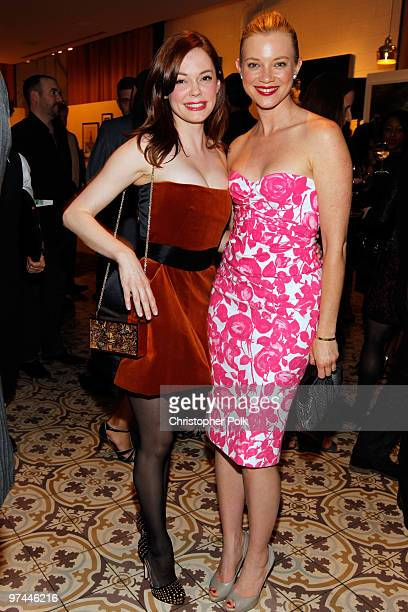 Actresses Rose McGowan and Amy Smart attend Art of Elysium's Pieces Of Heaven presented by Vanity Fair and BMW held at Palihouse Holloway on March 4...