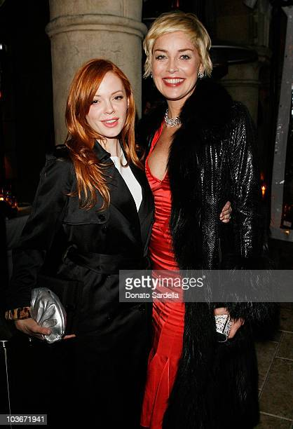 Actresses Rose McGowan Sharon Stone attend the Dior Beauty Dinner at the Chateau Marmont February 21 2008 West Hollywood California