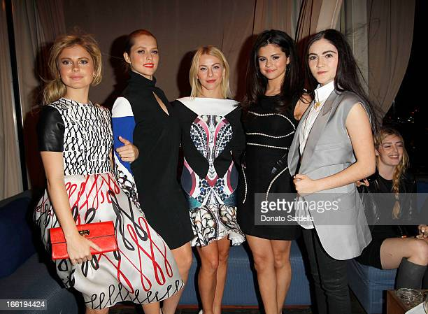 Actresses Rose McIver Teresa Palmer Julianne Hough singer Selena Gomez and actress Isabelle Fuhrman attend the British Fashion Council LONDON Show...