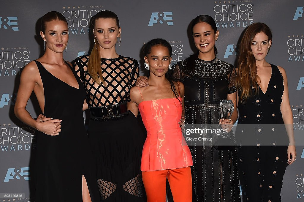 Actresses Rosie Huntington-Whiteley, Abbey Lee, Zoe Kravitz, Courtney Eaton and Riley Keough, winners of Best Action Movie for 'Mad Max: Fury Road', pose in the press room during the 21st Annual Critics' Choice Awards at Barker Hangar on January 17, 2016 in Santa Monica, California.