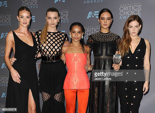 Actresses Rosie Huntington-Whiteley, Abbey Lee, Zoe Kravitz, Courtney Eaton and Riley Keough, winners of Best Action Movie for 'Mad Max: Fury Road',...
