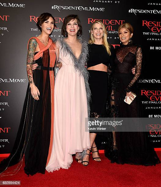 Actresses Ruby Rose Milla Jovovich Ali Larter and Rola arrive at the premiere of Sony Pictures Releasing's Resident Evil The Final Chapter at the...