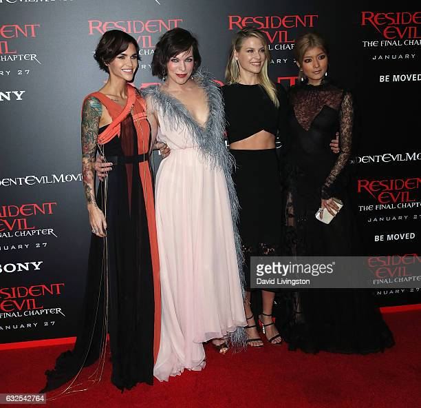 Actresses Ruby Rose Milla Jovovich Ali Larter and Rola attend the premiere of Sony Pictures Releasing's 'Resident Evil The Final Chapter' at Regal LA...