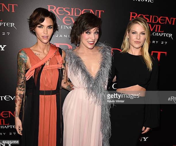 Actresses Ruby Rose Milla Jovovich and Ali Larter arrive at the premiere of Sony Pictures Releasing's Resident Evil The Final Chapter at the Regal LA...