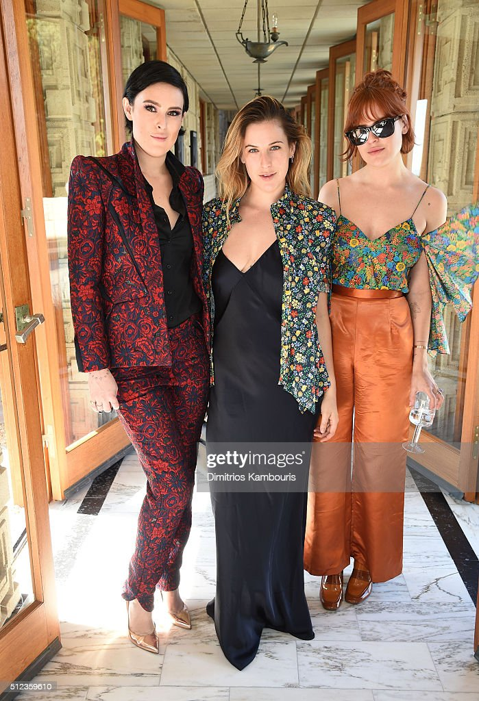 Actresses Rumer Willis, Scout Willis and Tallulah Willis attend the M.A.C Cosmetics Zac Posen luncheon at the Ennis House hosted by Karen Buglisi Weiler, Demi Moore & Jacqui Getty on February 25, 2016 in Los Angeles, California.
