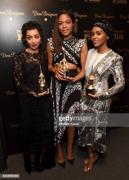 Actresses Ruth Negga Naomie Harris and Janelle Monae visit the Dom Perignon Lounge after receiving the Virtuosos Award at The Santa Barbara...