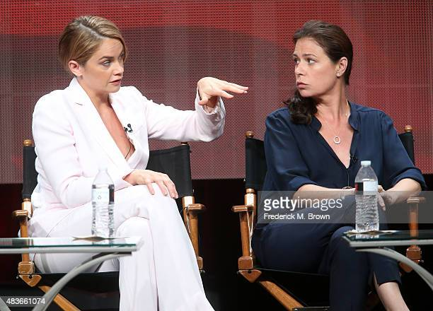 Actresses Ruth Wilson and Maura Tierney speak onstage during the 'The Affair' panel discussion at the Showtime portion of the 2015 Summer TCA Tour at...
