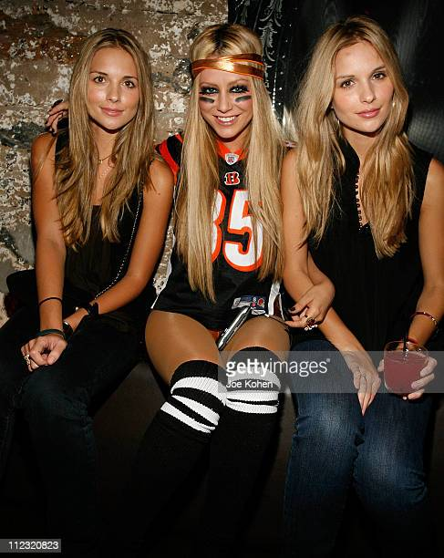 Actresses Sabrina Aldridge Aubrey O'Day and Kelly Aldridge at the Steelo Snow Queen Vodka Halloween Costume Party at the D'or Hotel on October 27...