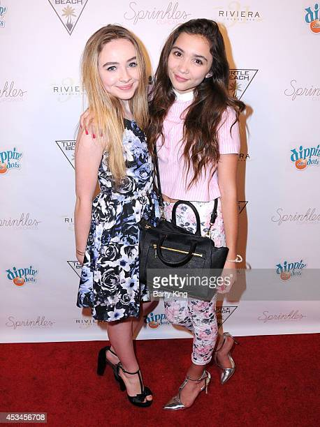 Actresses Sabrina Carpenter and Rowan Blanchard arrive at Blake Michael's 18th Birthday on Riviera 31 on August 9 2014 in Beverly Hills California