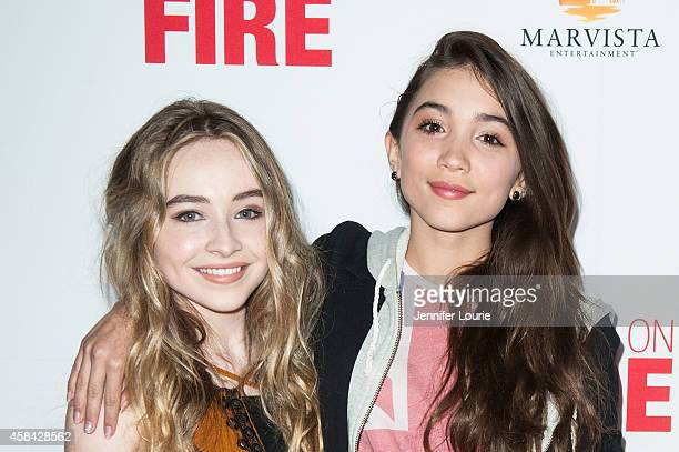 Actresses Sabrina Carpenter and Rowan Blanchard arrive at the Disney XD Premiere Screening of 'Pants on Fire' on November 4 2014 in Hollywood...