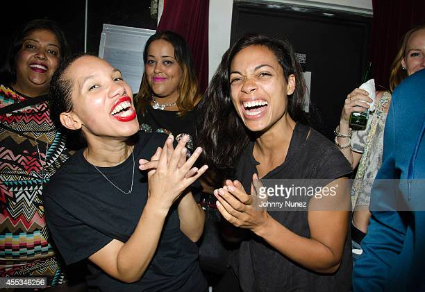 Actresses Safiya Martinez and Rosario Dawson attend 'So You Can Hear Me' at Nuyorican Poets Cafe on September 12 in New York City