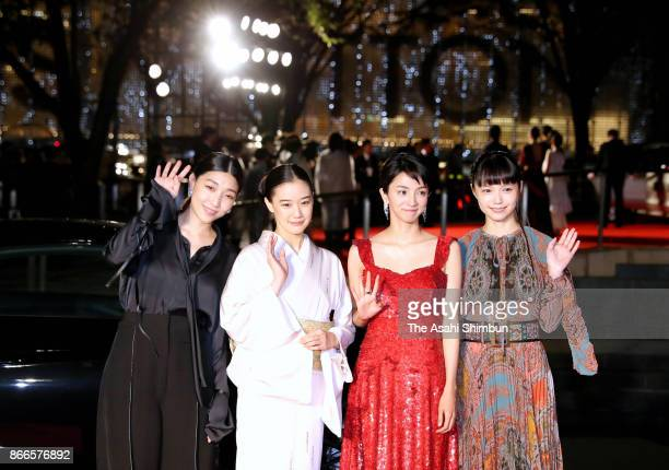 Actresses Sakura Ando Yu Aoi Hikari Mitsushima and Aoi Miyazaki pose during the red carpet of the 30th Tokyo International Film Festival at Roppongi...