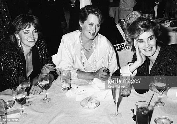 Actresses Sally Field Meryl Streep And Jessica Lange sitting around a table together at a post Academy Awards party at Spago's Los Angeles March 24th...