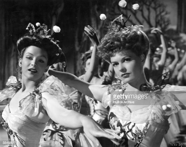 Actresses Sally Gray and Jean Kent wearing costumes designed by Oliver Messel for the Snowflake Ballet sequence in the General Films production of...