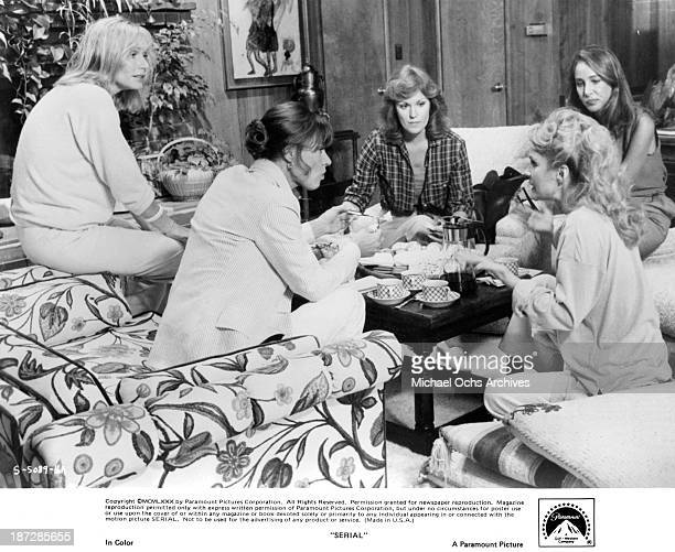 Actresses Sally Kellerman Nita Talbot Pamela Bellwood and Barbara Rhoades on set of the Paramount Pictures movie Serial in 1980