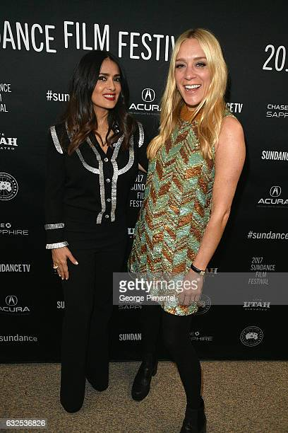 Actresses Salma Hayek and Chloë Sevigny attend the Beatriz At Dinner Premiere at Eccles Center Theatre on January 23 2017 in Park City Utah