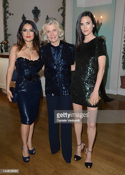 Actresses Salma Hayek and Jennifer Connelly arrive at Vanity Fair and Gucci Party at Hotel Du Cap during 65th Annual Cannes Film Festival on May 19...