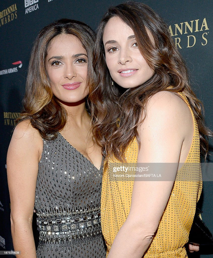 Actresses Salma Hayek (L) and Mia Maestro attend the 2013 BAFTA LA Jaguar Britannia Awards presented by BBC America at The Beverly Hilton Hotel on November 9, 2013 in Beverly Hills, California.