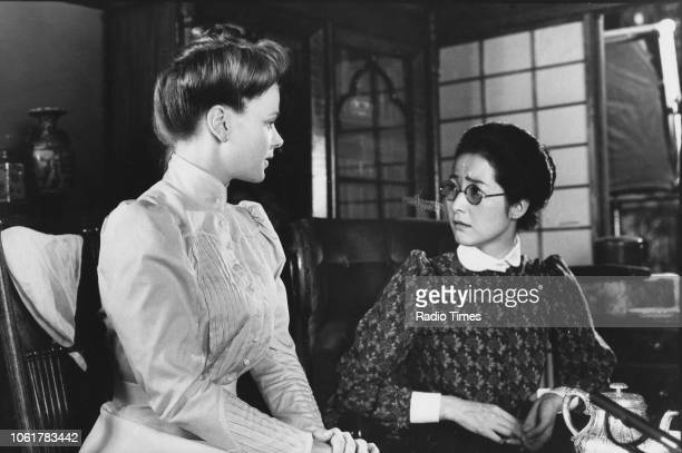 Actresses Samantha Bond and Fumi Dan in a scene from episode 2 of the television series 'The Ginger Tree' August 13th 1989