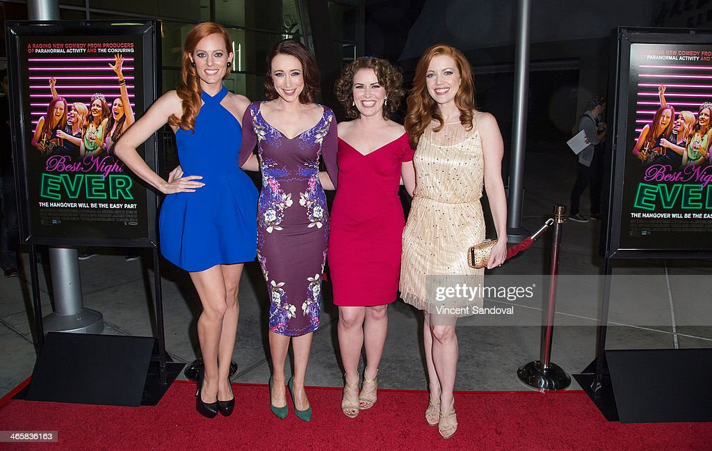 Actresses Samantha Colburn, Eddie Ritchard, Crista Flanagan and Desiree Hall attend the Los Angeles Premiere of 'Best Night Ever' at ArcLight Cinemas on January 29, 2014 in Hollywood, California.