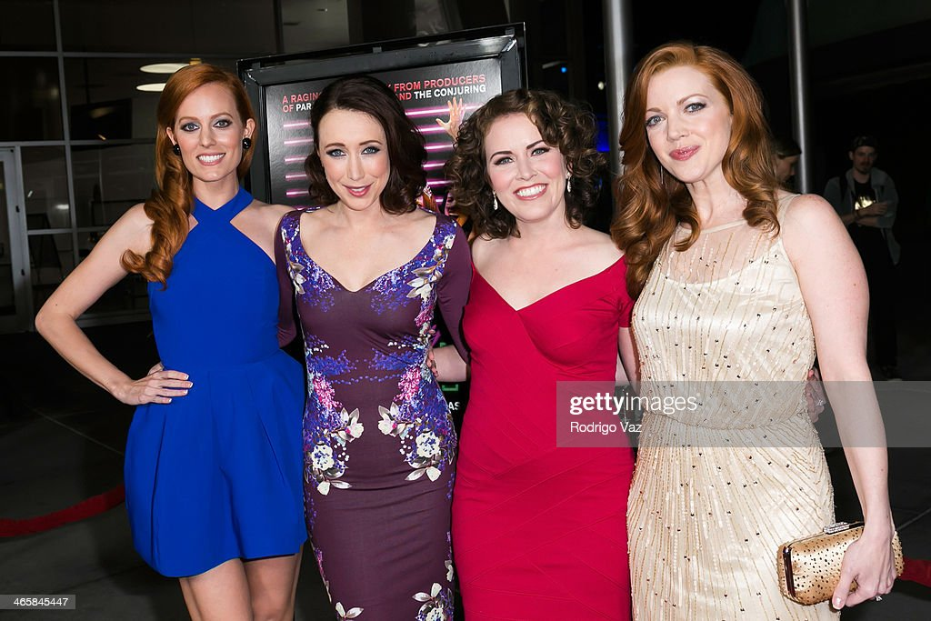 Actresses Samantha Colburn, Eddie Ritchard, Crista Flanagan and Desiree Hall attend the 'Best Night Ever' Los Angeles premiere at ArcLight Cinemas on January 29, 2014 in Hollywood, California.