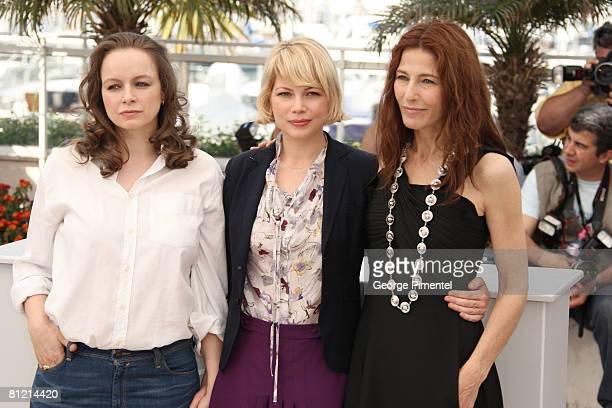 Actresses Samantha Morton Michelle Williams and Catherine Keener attend the 'Synecdoche New York' Photocall at the Palais des Festivals during the...