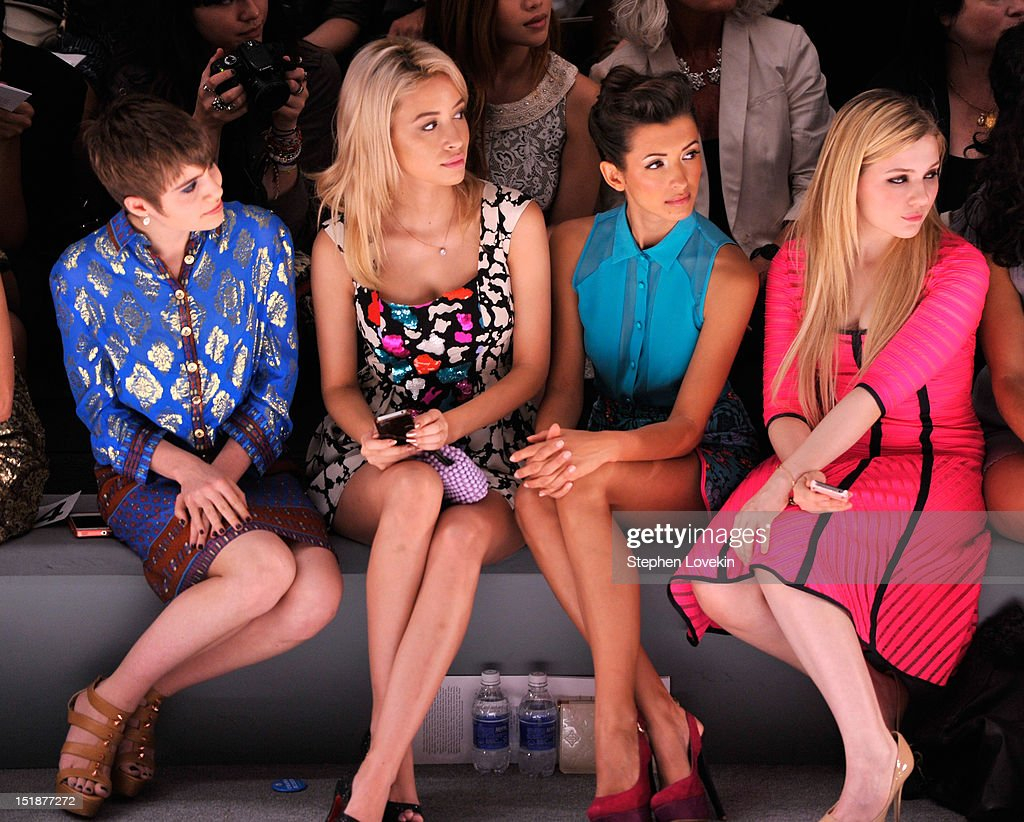 Actresses Sami Gayle, Christian Serratos, India de Beaufort, and Amanda Breslin attend the Nanette Lepore Spring 2013 fashion show during Mercedes-Benz Fashion Week at The Stage Lincoln Center on September 12, 2012 in New York City.