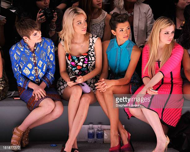 Actresses Sami Gayle Christian Serratos India de Beaufort and Amanda Breslin attend the Nanette Lepore Spring 2013 fashion show during MercedesBenz...