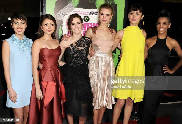 Actresses Sami Gayle Sarah Hyland Zoey Deutch Lucy Fry Olga Kurylenko and Dominique Tipper attend the premiere of 'Vampire Academy' at Regal Cinemas...