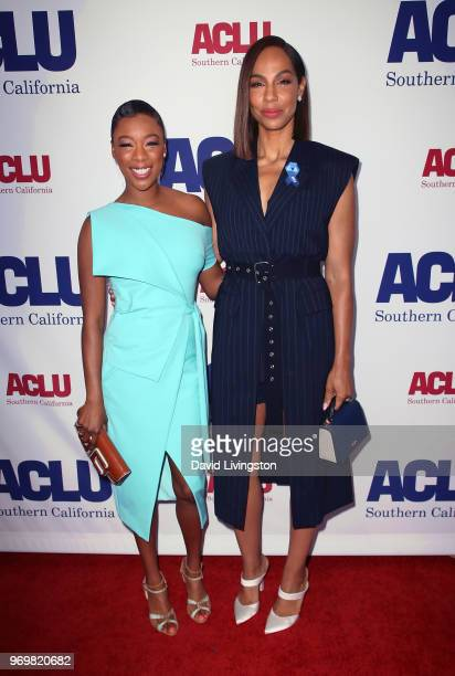 Actresses Samira Wiley and Amanda Brugel attend the ACLU SoCal Annual Luncheon at JW Marriott Los Angeles at LA LIVE on June 8 2018 in Los Angeles...