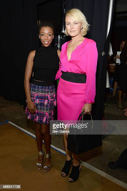 Actresses Samira Wiley and Malin Akerman pose backstage at the Milly By Michelle Smith Fashion Show during Spring 2016 New York Fashion Week at Art...