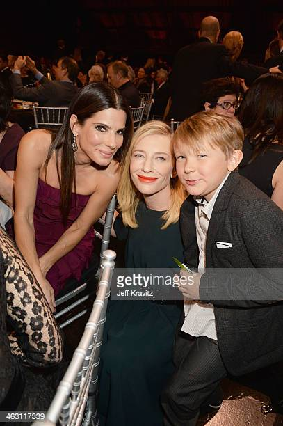 Actresses Sandra Bullock and Cate Blanchett and her son Ignatius Martin Upton attend the 19th Annual Critics' Choice Movie Awards at Barker Hangar on...