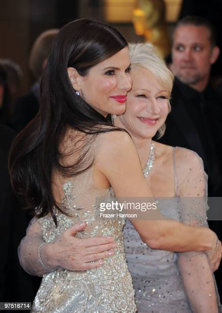 Actresses Sandra Bullock and Helen Mirren arrive at the 82nd Annual Academy Awards held at Kodak Theatre on March 7 2010 in Hollywood California