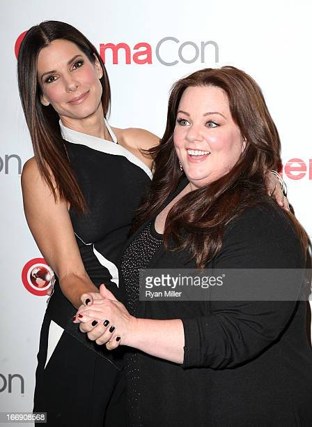 Actresses Sandra Bullock and Melissa McCarthy arrive at the 20th Century Fox Cinemacon Press Conference at Caesars Palace during CinemaCon the...