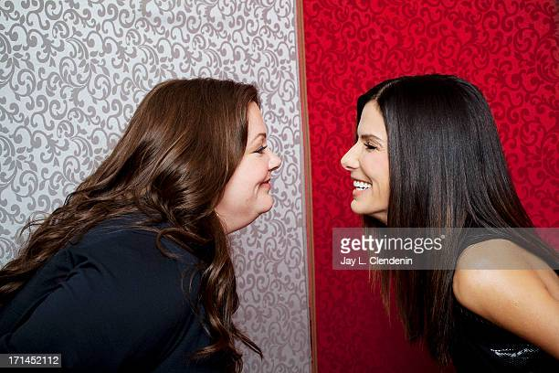 Actresses Sandra Bullock Melissa McCarthy are photographed for Los Angeles Times on April 11 2013 in Los Angeles California PUBLISHED IMAGE CREDIT...