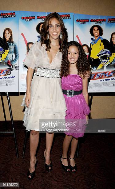 Actresses Sandra Echeverria and Madison Pettis attends the Free Style premiere at the Chelsea Clearview Cinema 9 on September 24 2009 in New York City