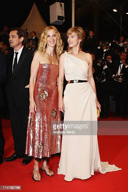 Actresses Sandrine Kiberlain and Karin Viard attend the 'Polisse' premiere at the Palais des Festivals during the 64th Cannes Film Festival on May 13...