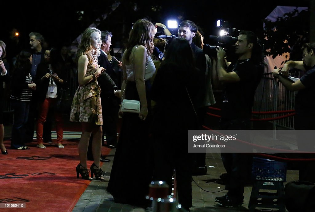 Actresses Saoirse Ronan and Gemma Arterton attend the 'Byzantium' premiere during the 2012 Toronto International Film Festival at Ryerson Theatre on September 9, 2012 in Toronto, Canada.