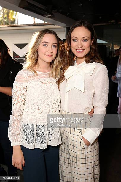 Actresses Saoirse Ronan and Olivia Wilde attend the 'Indie Contenders Roundtable presented by The Hollywood Reporter' during AFI FEST 2015 presented...