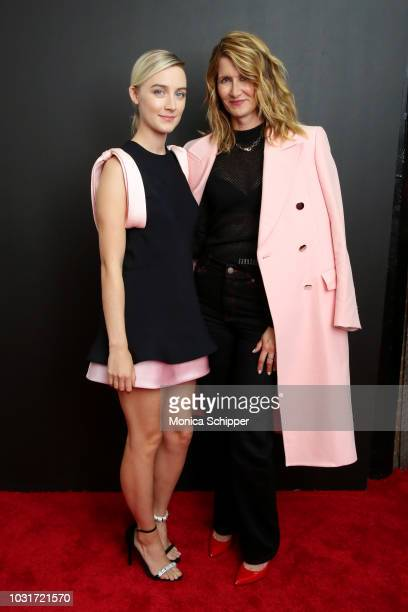 Actresses Saoirse Ronan Laura Dern attend the Calvin Klein Collection fashion show at New York Stock Exchange on September 11 2018 in New York City